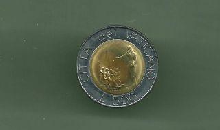 Vatican 1991 500 Lire Bi - Metallic Unc Coin photo