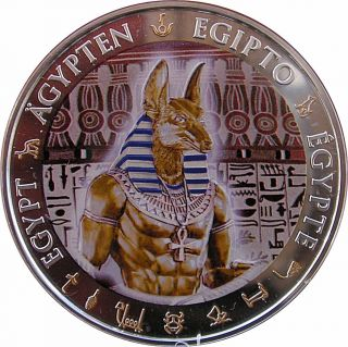 Anubis Gilded Ancient Egypt $1 Silver Proof Coin 2012 Fiji photo