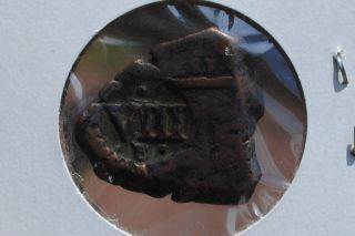 Pirate Coin 1641 Stamped Viii Maravedis Authentic.  The World Era. photo