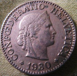 Swiss 10 Rappen 1930 Very Fine+ Semi - Key Date photo