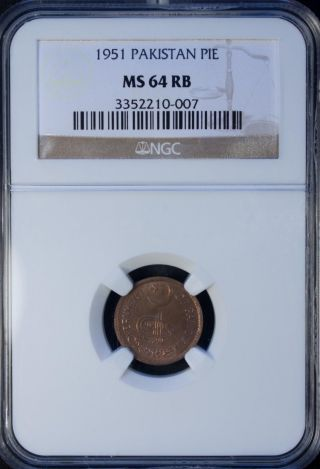 1951 Pakistan Pie Ngc Ms 64 Rb Unc Bronze photo