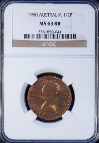 1960 Australia 1/2 Penny Ngc Ms 63 Rb Brozne photo