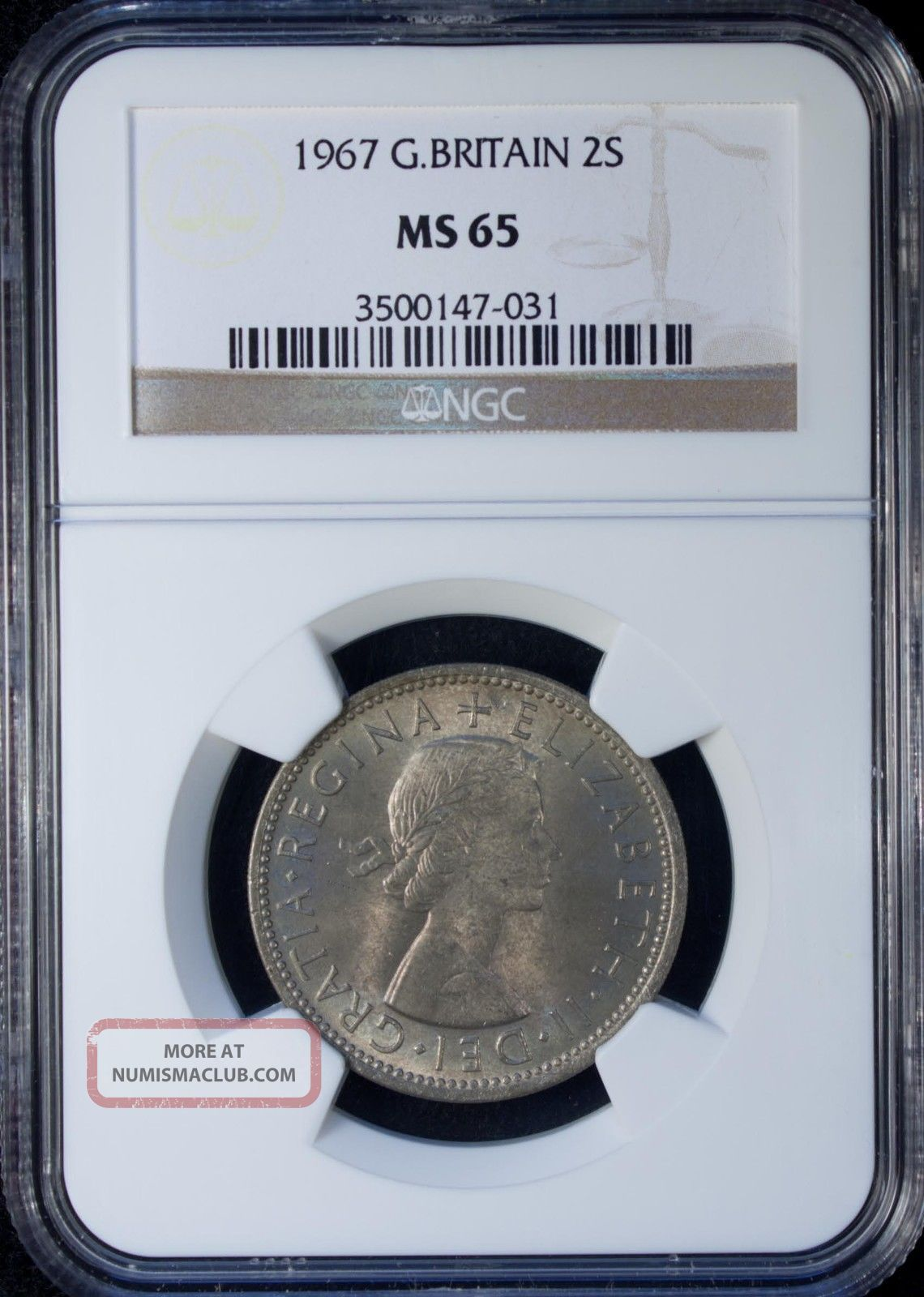 1967 Great Britain 2 Shillings Ngc Ms 65 Unc Copper - Nickel UK (Great Britain) photo