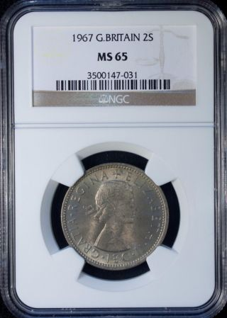 1967 Great Britain 2 Shillings Ngc Ms 65 Unc Copper - Nickel photo