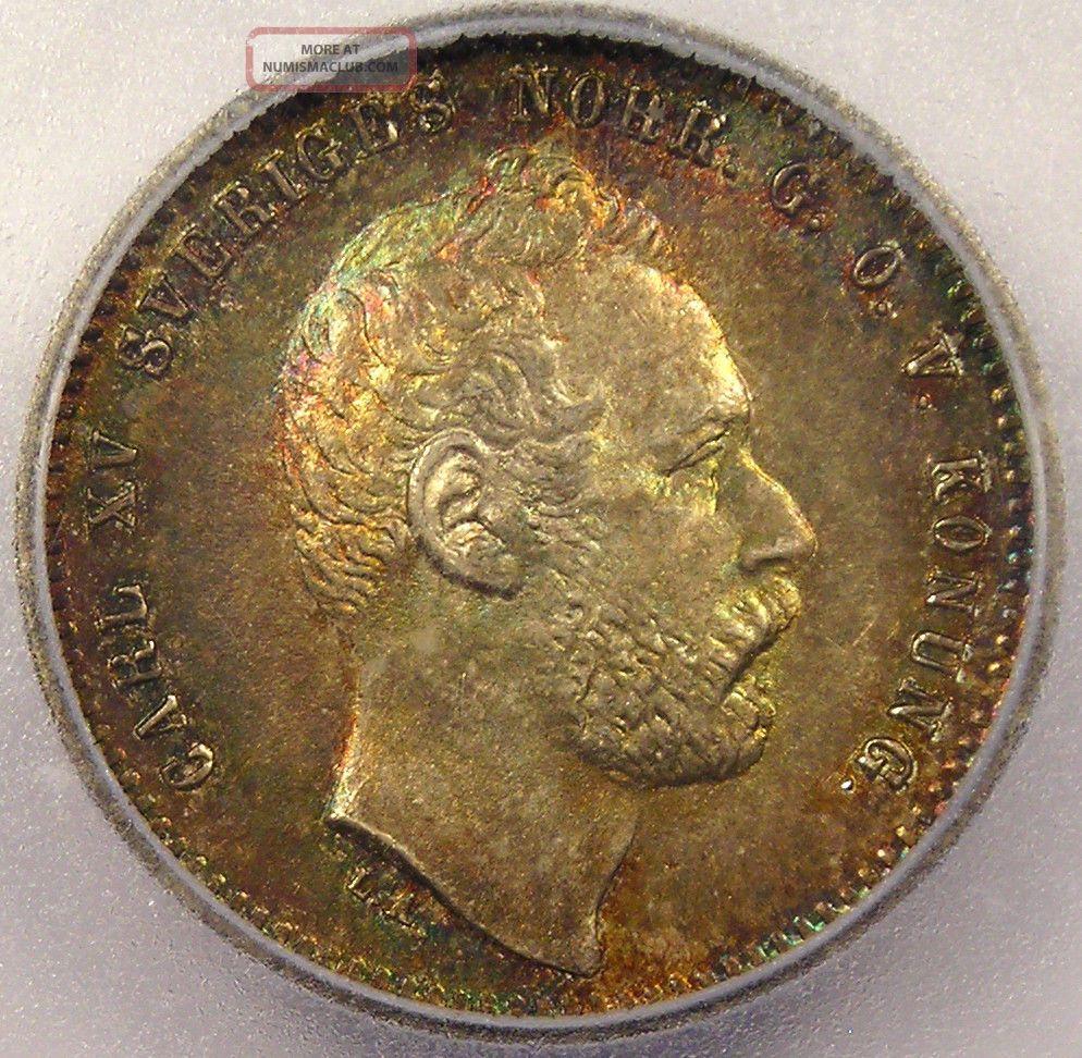1871 Sweden 25 Ore - Icg Ms65 - Rare Bu Uncirculated Coin Europe photo