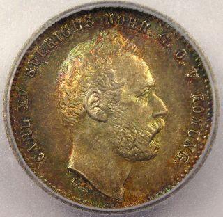 1871 Sweden 25 Ore - Icg Ms65 - Rare Bu Uncirculated Coin photo