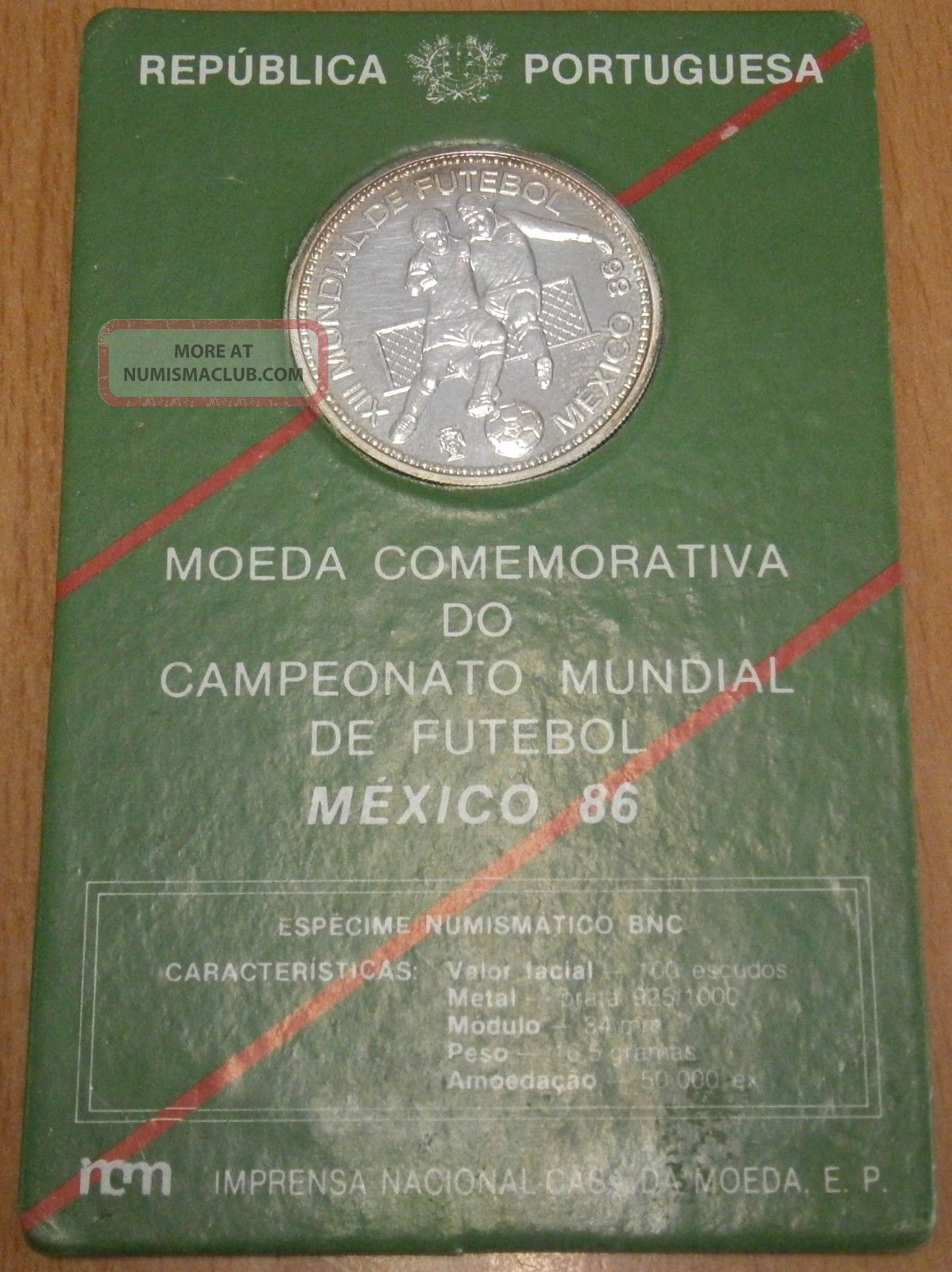 Portugal 100 Escudos 1986 Silver 925 World Cup Soccer Km 637a Europe photo