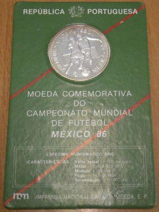 Portugal 100 Escudos 1986 Silver 925 World Cup Soccer Km 637a photo
