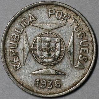 1936 Silver 1/2 Rupia India (portugal Colony) Portuguese Rupee photo