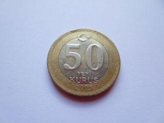 2005 Turkey 50 Yeni Kurus Coin Bimetallic Coin photo
