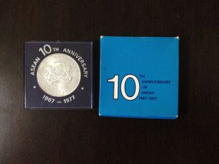Asean 10th Anniversary 1967 - 1977 Singapore $10 Sliver Coin photo