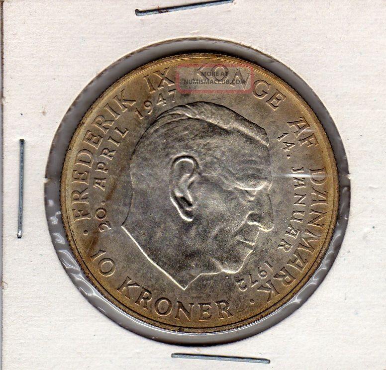 Denmark 10 Kroner Silver 1972 Death Of Frederik Ix Accession Of Margrethe Ii Europe photo