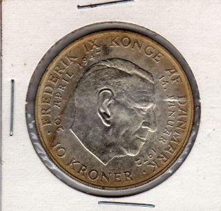Denmark 10 Kroner Silver 1972 Death Of Frederik Ix Accession Of Margrethe Ii photo