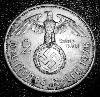 1938 Nazi Germany - 2 Reichs Silver Mark With Swastika photo
