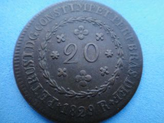 Brazil 1829 - R Copper Coin 20 Reis D.  Pedro I photo