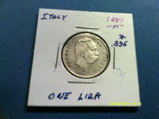 Italy 1 Lira Silver.  835 1887m Km24.  2 photo