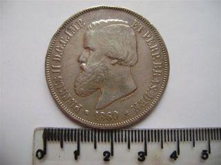Ebr64 - Brasil Brazil Brasilien 2000 Reis 1869 Silver Silber Plata photo