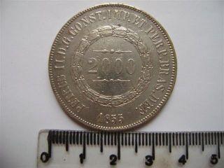 Ebr60 - Brasil Brazil Brasilien 2000 Reis 1855 Silver Silber Plata photo