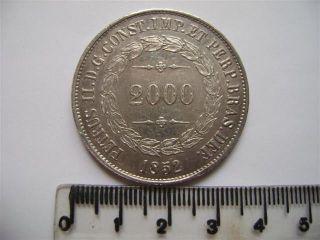 Ebr59 - Brasil Brazil Brasilien 2000 Reis 1852 Silver Silber Plata photo