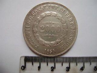 Ebr63 - Brasil Brazil Brasilien 2000 Reis 1856 Xf Silver Silber Plata photo