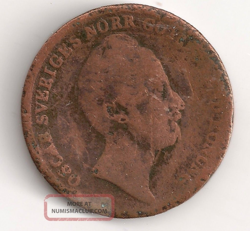 Sweden 2/3 Skilling,  1849 Copper,  164 Year Old Coin Europe photo