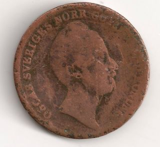 Sweden 2/3 Skilling,  1849 Copper,  164 Year Old Coin photo