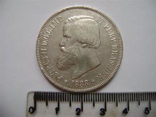 Ebr65 - Brasil Brazil Brasilien 2000 Reis 1888 Silver Silber Plata photo