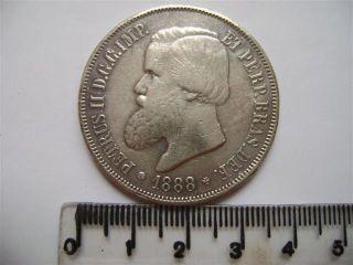 Ebr66 - Brasil Brazil Brasilien 2000 Reis 1888 Silver Silber Plata photo