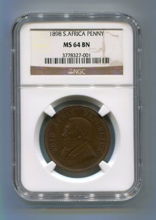 Ngc Graded Ms 64 Bn 1898 1 Penny Kruger Era Coin South Africa - Zar photo