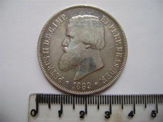 Ebr67 - Brasil Brazil Brasilien 2000 Reis 1889 Silver Silber Plata photo