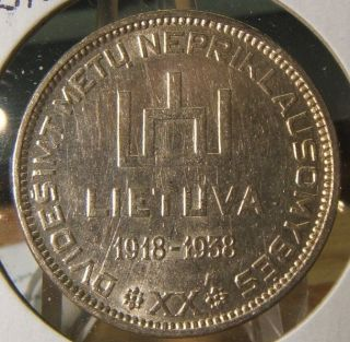 1938 Lithuania Silver 10 Litu Bu - Unc Beauty Scarce photo