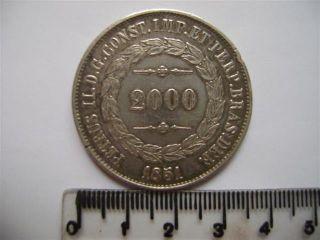 Ebr58 - Brasil Brazil Brasilien 2000 Reis 1851 Silver Silber Plata photo