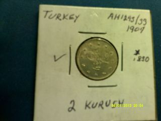 Turkey 2 Kurush Silver Coin 1907 Km736 See Pictures photo