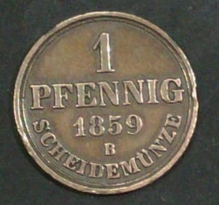 Germany States Hannover 1 Pfennig 1859 B Fine Plus Copper Coin photo