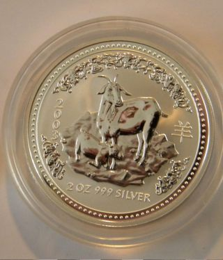 Australia 2 Oz.  999 Silver Lunar Coin Goat 2003 1st Series Low Mintage photo