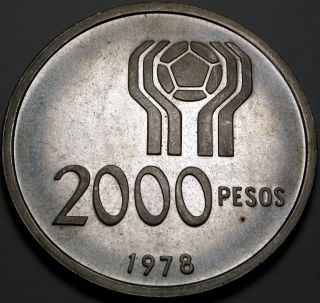 Argentina 2000 Pesos 1978 Proof - Silver - 1978 World Soccer Championship photo