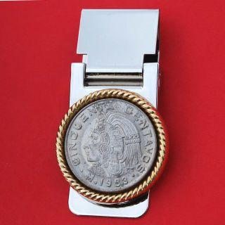 1983 Mexico 50 Centavos Xf Coin Head W.  Headdress Hinged Money Clip photo