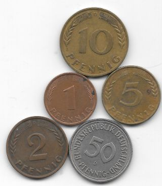 One,  Two,  Five,  Ten & Fifty Pfennigs From Germany All 1950 - D Minted In Munich photo