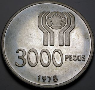 Argentina 3000 Pesos 1978 Proof - Silver - 1978 World Soccer Championship photo