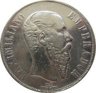Un Peso Maximiliano Mexico 1866,  Km.  388.  1,  Maximilian Empire,  Vey Attractive photo