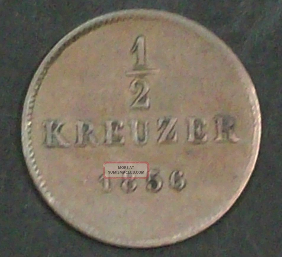 German Wurttemberg 1/2 Kreuzer 1856 Very Fine Copper Coin Germany photo
