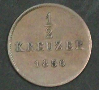 German Wurttemberg 1/2 Kreuzer 1856 Very Fine Copper Coin photo