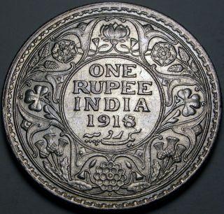 India (british - Colony) 1 Rupee 1918 - Silver - George V.  - Xf photo