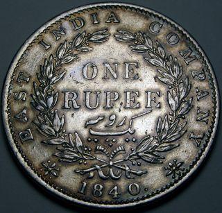 India (brtish - Colony) 1 Rupee 1840 - Silver - Queen Victoria photo