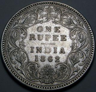 India (brtish - Colony) 1 Rupee 1862 - Silver - Queen Victoria photo