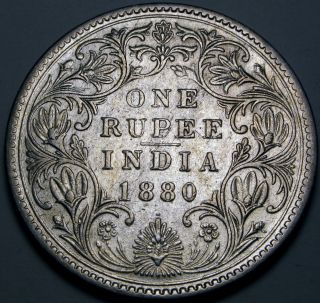 India (brtish - Colony) 1 Rupee 1880 - Silver - Queen Victoria photo