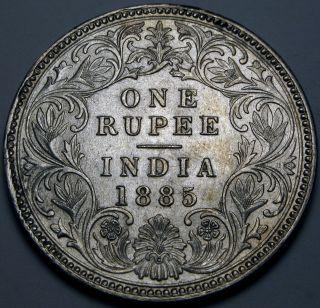 India (brtish - Colony) 1 Rupee 1885 - Silver - Queen Victoria - Xf photo