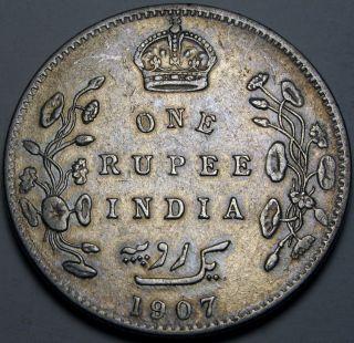India (brtish - Colony) 1 Rupee 1907 - Silver - Edward Vii. photo