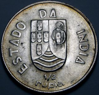 India (portuguese Administration) 1/2 Rupia 1936 - Silver photo