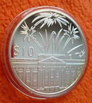 2002 1 Ounce Silver $10 East Caribbean States Queen Elizabeth Ii Proof Coin. photo
